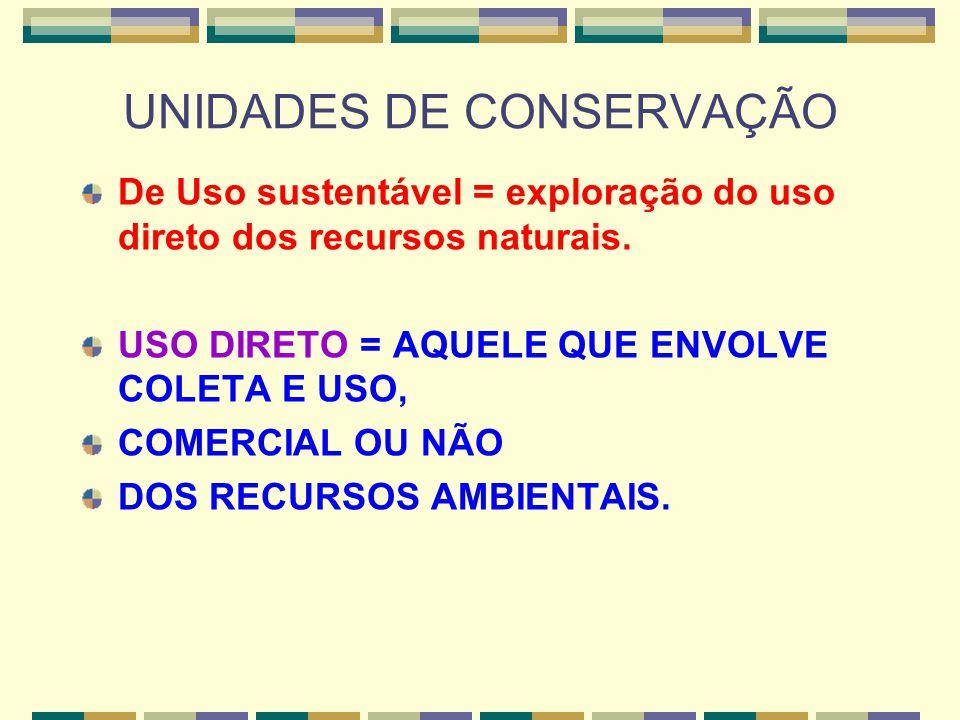 UNIDADES DE CONSERVAÇÃO De Uso sustentável = exploração do uso direto dos recursos naturais. USO DIRETO = AQUELE QUE ENVOLVE COLETA E USO, COMERCIAL O