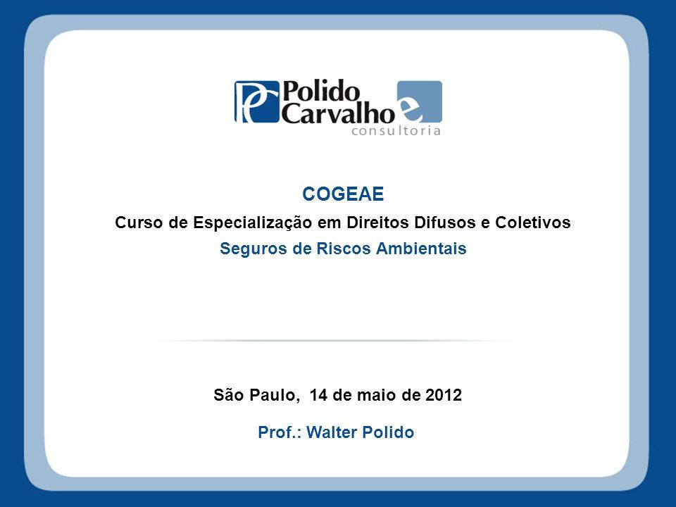 COGEAE Curso de Especialização em Direitos Difusos e Coletivos Seguros de Riscos Ambientais São Paulo, 14 de maio de 2012 Prof.: Walter Polido