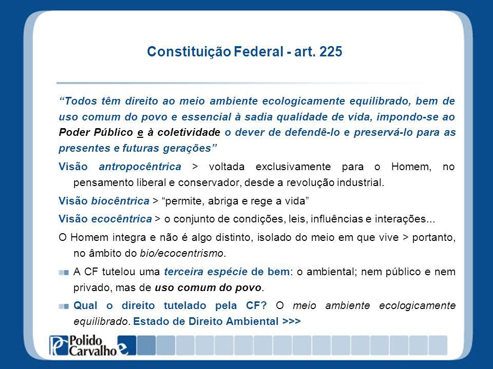 Constituição Federal - art. 225 Todos têm direito ao meio ambiente ecologicamente equilibrado, bem de uso comum do povo e essencial à sadia qualidade