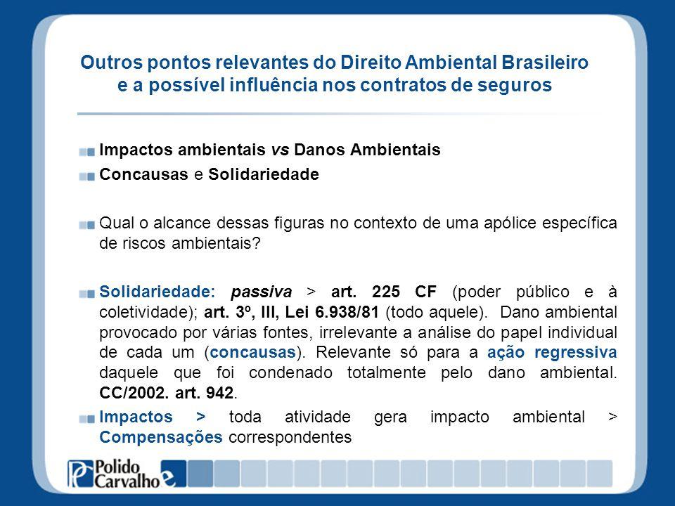 Outros pontos relevantes do Direito Ambiental Brasileiro e a possível influência nos contratos de seguros Impactos ambientais vs Danos Ambientais Conc