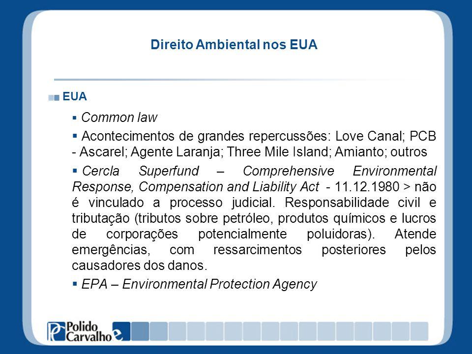 Direito Ambiental nos EUA EUA Common law Acontecimentos de grandes repercussões: Love Canal; PCB - Ascarel; Agente Laranja; Three Mile Island; Amianto