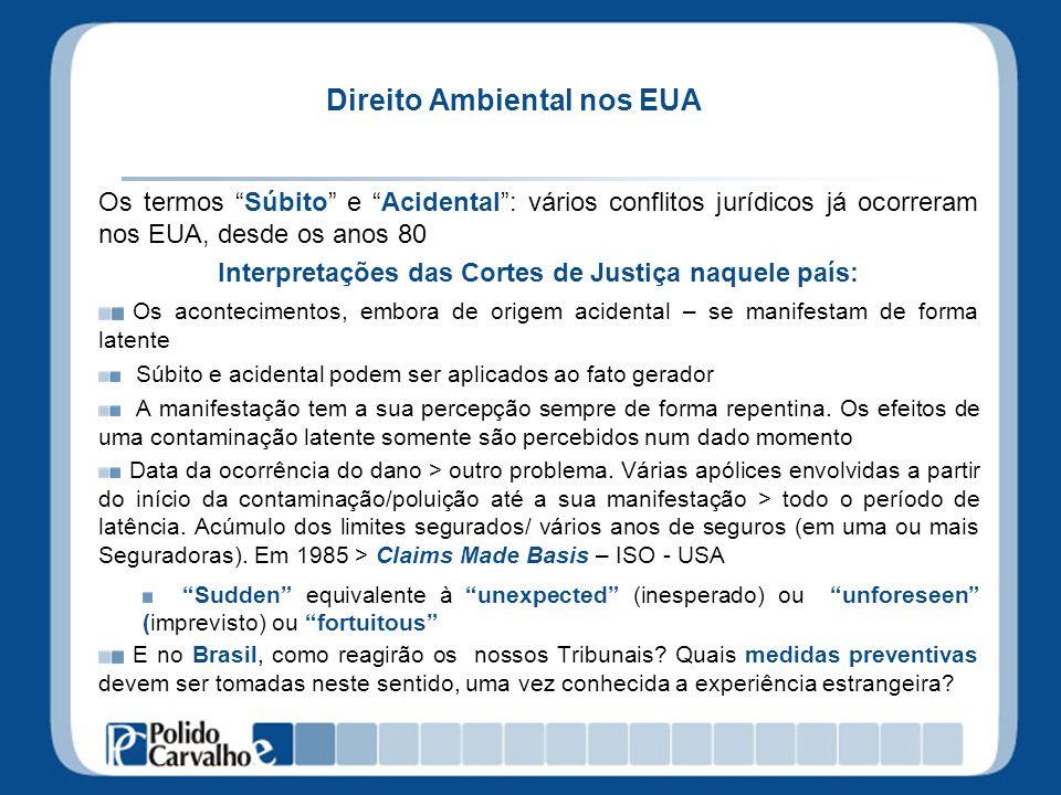 Direito Ambiental nos EUA Os termos Súbito e Acidental: vários conflitos jurídicos já ocorreram nos EUA, desde os anos 80 Interpretações das Cortes de