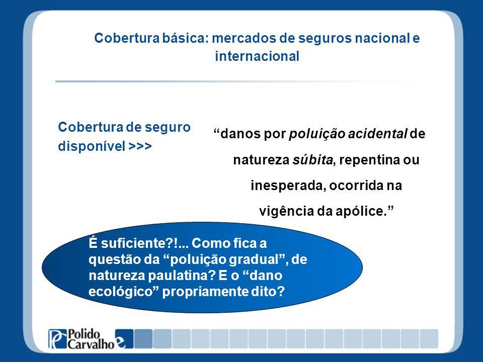 Cobertura básica: mercados de seguros nacional e internacional danos por poluição acidental de natureza súbita, repentina ou inesperada, ocorrida na v