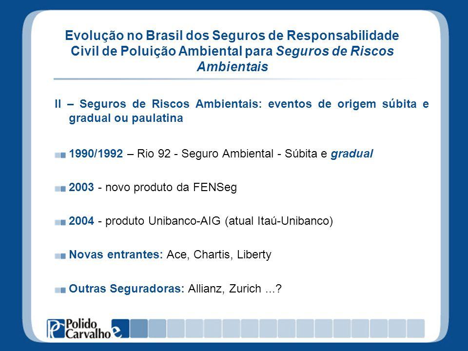 Evolução no Brasil dos Seguros de Responsabilidade Civil de Poluição Ambiental para Seguros de Riscos Ambientais II – Seguros de Riscos Ambientais: ev