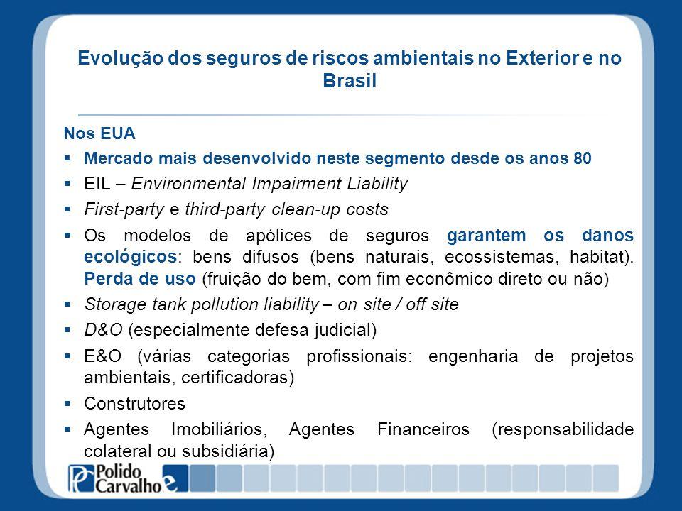 Evolução dos seguros de riscos ambientais no Exterior e no Brasil Nos EUA Mercado mais desenvolvido neste segmento desde os anos 80 EIL – Environmenta