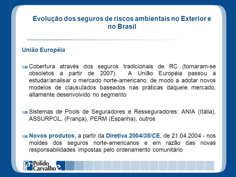 Evolução dos seguros de riscos ambientais no Exterior e no Brasil União Européia Cobertura através dos seguros tradicionais de RC (tornaram-se obsolet