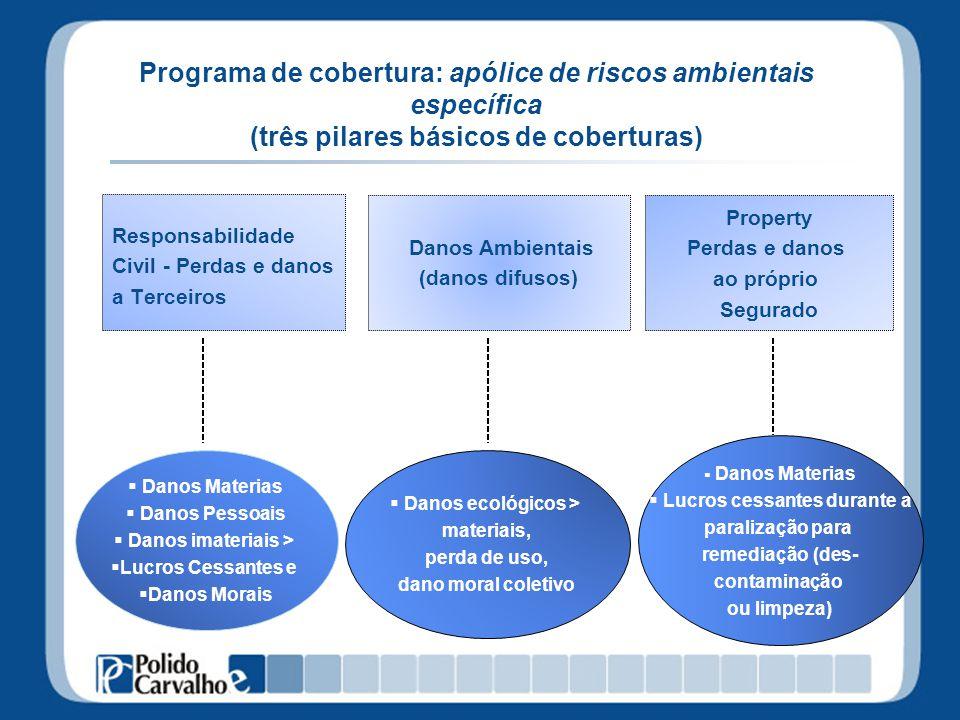 Programa de cobertura: apólice de riscos ambientais específica (três pilares básicos de coberturas) Responsabilidade Civil - Perdas e danos a Terceiro
