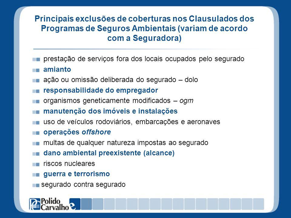 Principais exclusões de coberturas nos Clausulados dos Programas de Seguros Ambientais (variam de acordo com a Seguradora) p restação de serviços fora