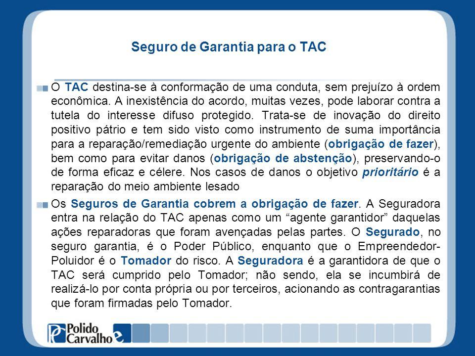 Seguro de Garantia para o TAC O TAC destina-se à conformação de uma conduta, sem prejuízo à ordem econômica. A inexistência do acordo, muitas vezes, p