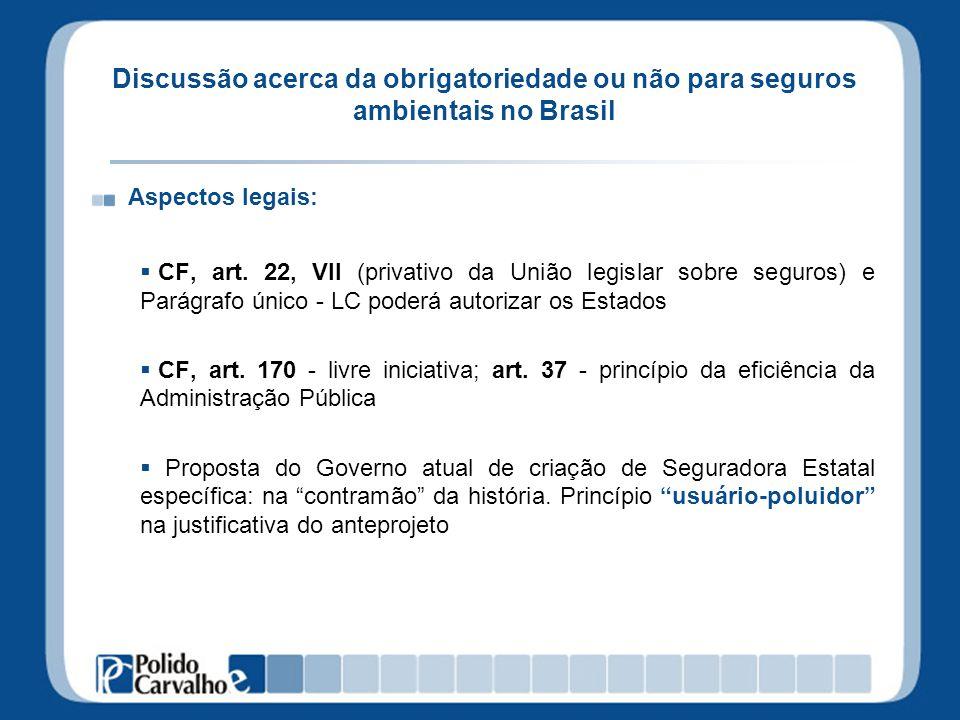Discussão acerca da obrigatoriedade ou não para seguros ambientais no Brasil Aspectos legais: CF, art. 22, VII (privativo da União legislar sobre segu