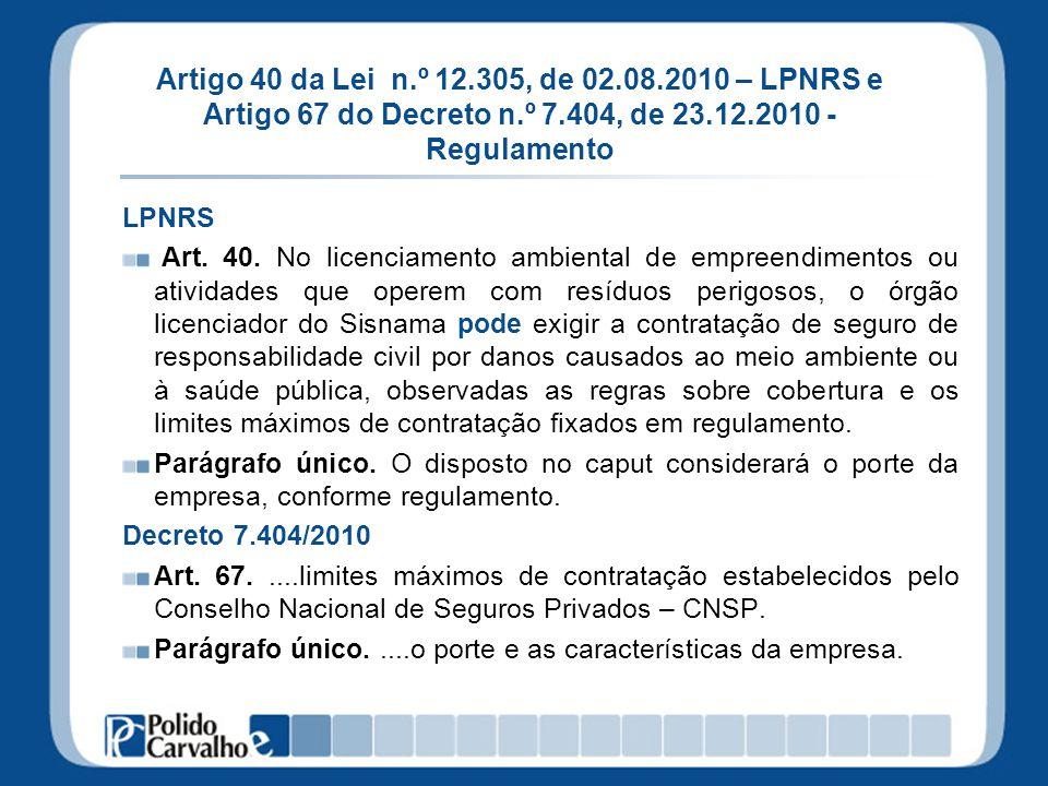 Artigo 40 da Lei n.º 12.305, de 02.08.2010 – LPNRS e Artigo 67 do Decreto n.º 7.404, de 23.12.2010 - Regulamento LPNRS Art. 40. No licenciamento ambie