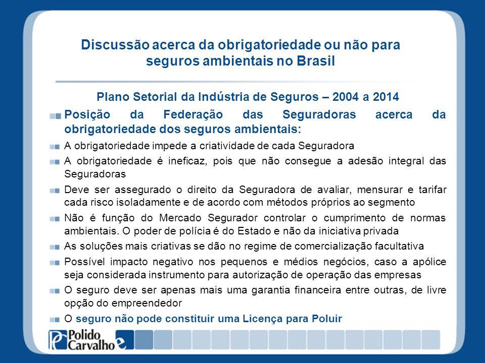 Discussão acerca da obrigatoriedade ou não para seguros ambientais no Brasil Plano Setorial da Indústria de Seguros – 2004 a 2014 Posição da Federação