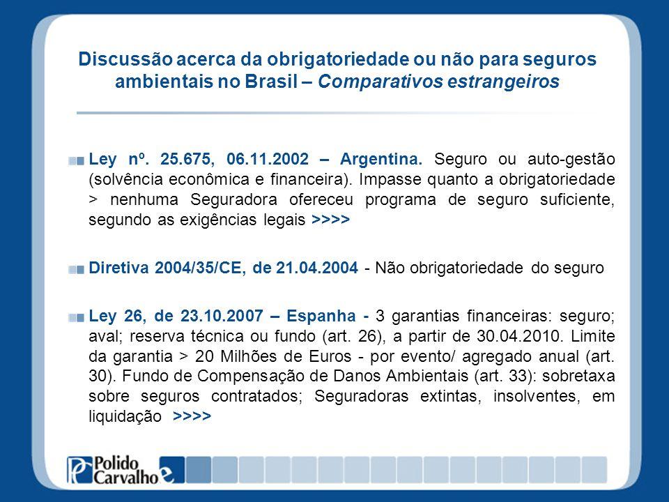Discussão acerca da obrigatoriedade ou não para seguros ambientais no Brasil – Comparativos estrangeiros Ley nº. 25.675, 06.11.2002 – Argentina. Segur