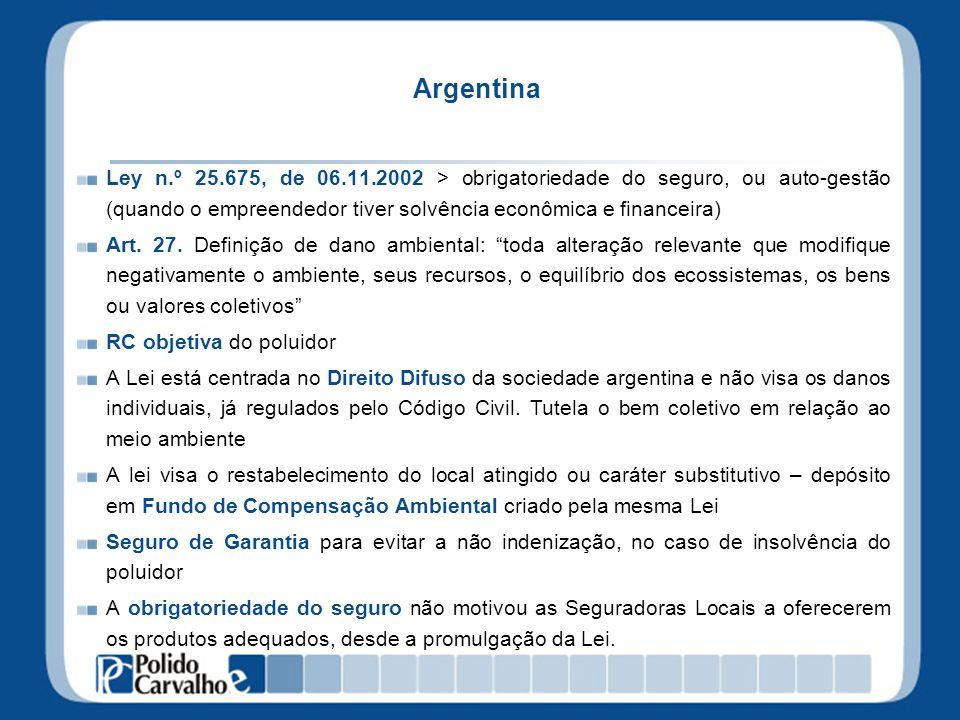 Argentina Ley n.º 25.675, de 06.11.2002 > obrigatoriedade do seguro, ou auto-gestão (quando o empreendedor tiver solvência econômica e financeira) Art