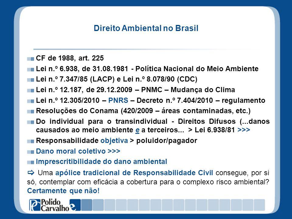 Direito Ambiental no Brasil CF de 1988, art. 225 Lei n.º 6.938, de 31.08.1981 - Política Nacional do Meio Ambiente Lei n.º 7.347/85 (LACP) e Lei n.º 8