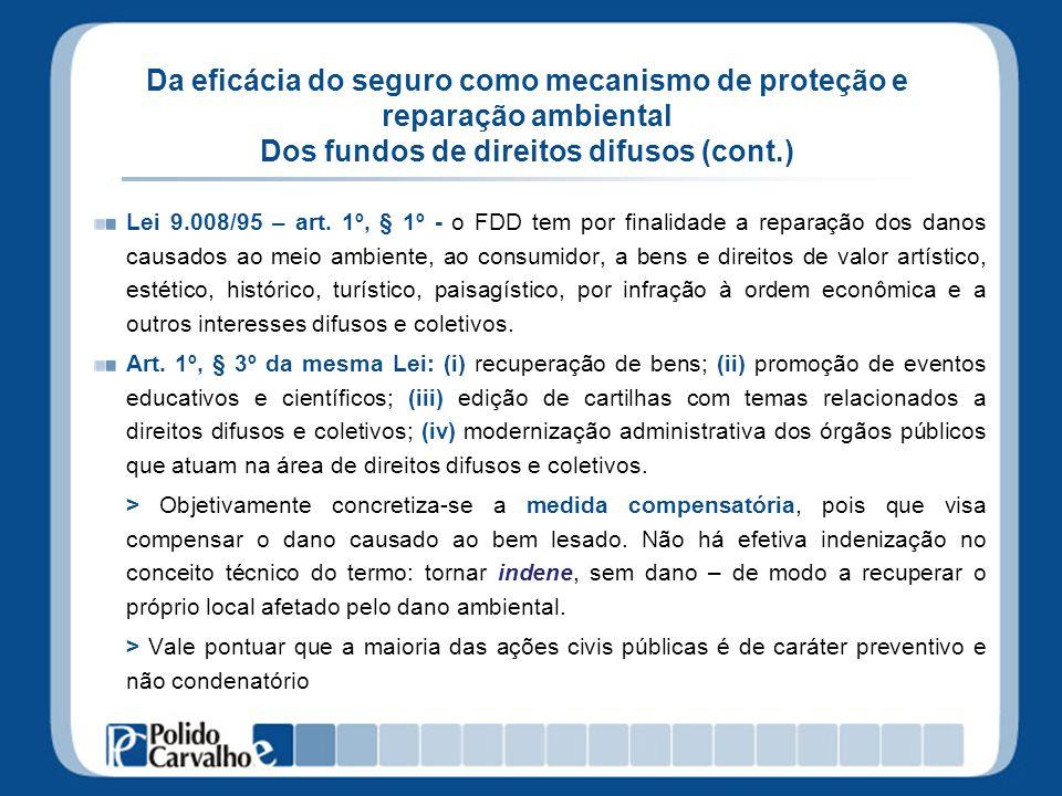 Da eficácia do seguro como mecanismo de proteção e reparação ambiental Dos fundos de direitos difusos (cont.) Lei 9.008/95 – art. 1º, § 1º - o FDD tem