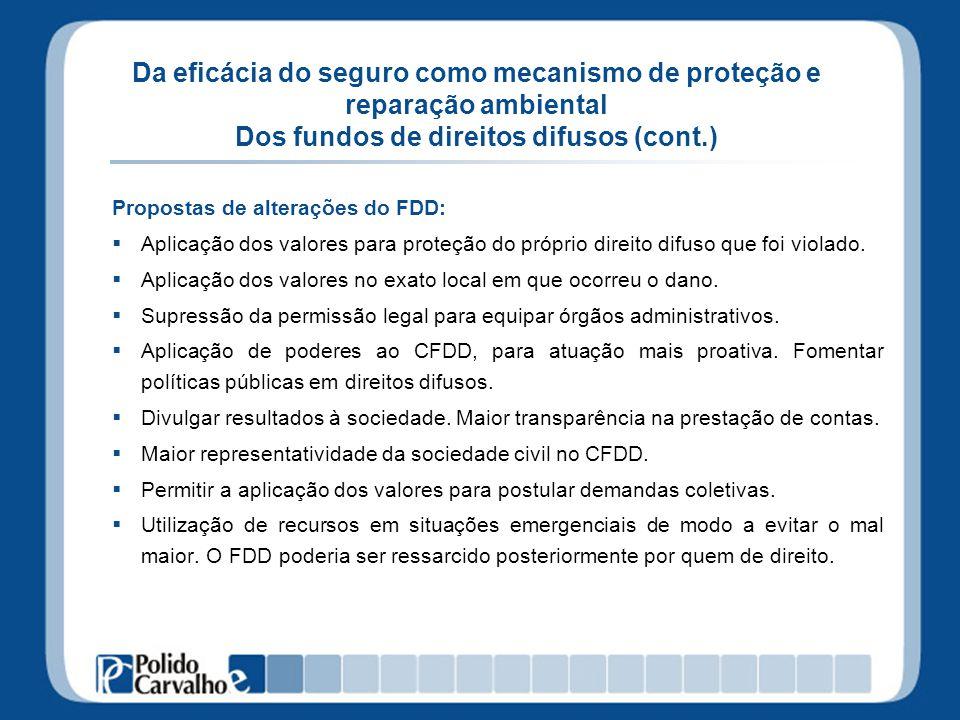Da eficácia do seguro como mecanismo de proteção e reparação ambiental Dos fundos de direitos difusos (cont.) Propostas de alterações do FDD: Aplicaçã