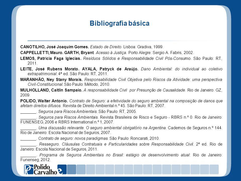 Bibliografia básica CANOTILHO, José Joaquim Gomes. Estado de Direito. Lisboa: Gradiva, 1999. CAPPELLETTI, Mauro. GARTH, Bryant. Acesso à Justiça. Port