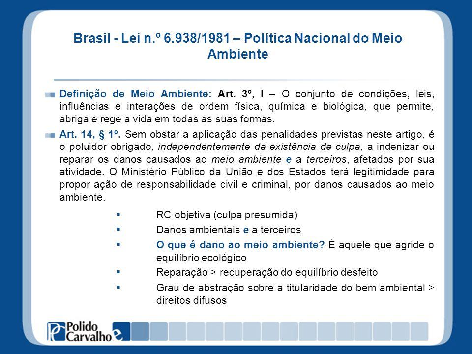 Brasil - Lei n.º 6.938/1981 – Política Nacional do Meio Ambiente Definição de Meio Ambiente: Art. 3º, I – O conjunto de condições, leis, influências e