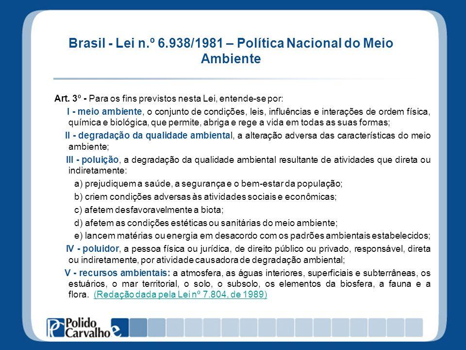 Brasil - Lei n.º 6.938/1981 – Política Nacional do Meio Ambiente Art. 3º - Para os fins previstos nesta Lei, entende-se por: I - meio ambiente, o conj