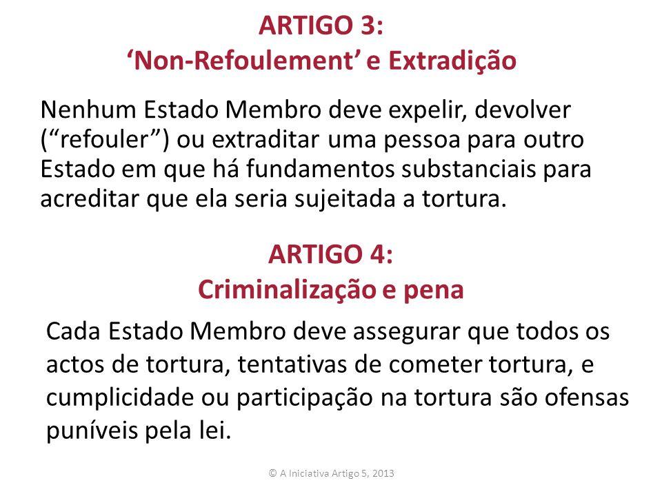 ARTIGO 3: Non-Refoulement e Extradição Nenhum Estado Membro deve expelir, devolver (refouler) ou extraditar uma pessoa para outro Estado em que há fun