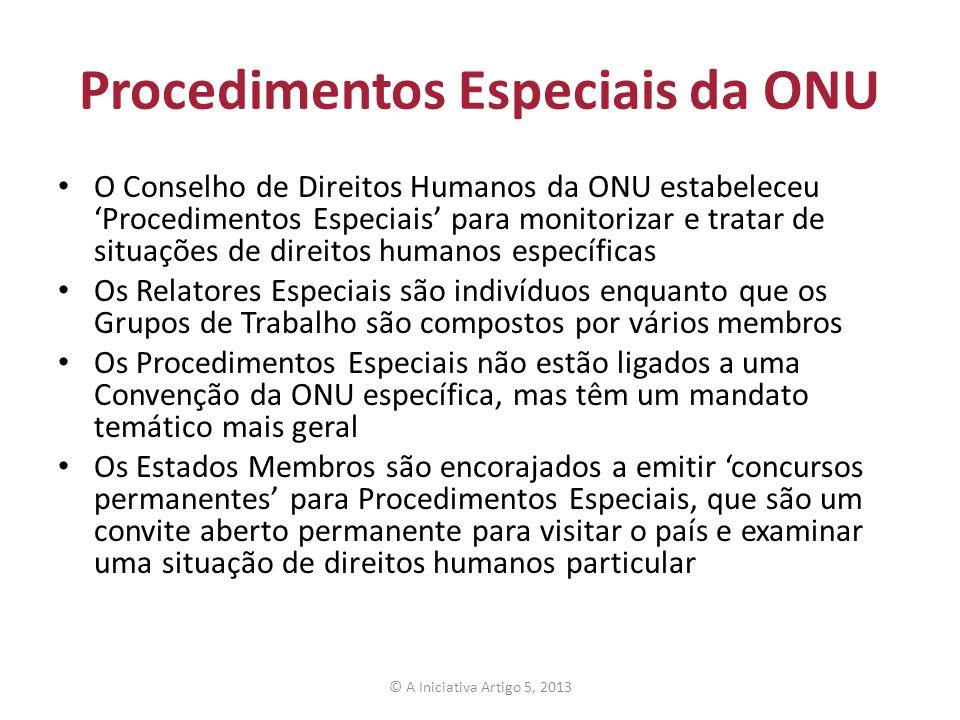Procedimentos Especiais da ONU O Conselho de Direitos Humanos da ONU estabeleceu Procedimentos Especiais para monitorizar e tratar de situações de dir