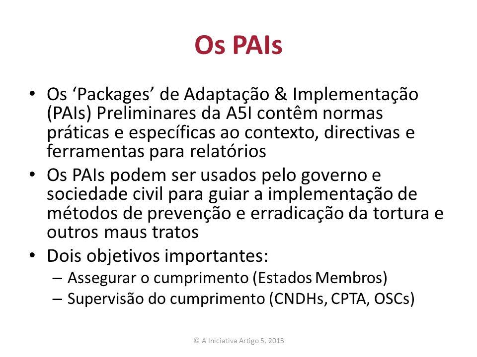 Os PAIs Os Packages de Adaptação & Implementação (PAIs) Preliminares da A5I contêm normas práticas e específicas ao contexto, directivas e ferramentas