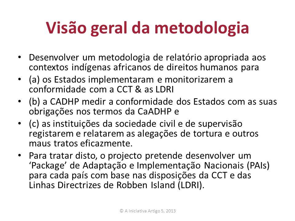 Visão geral da metodologia Desenvolver um metodologia de relatório apropriada aos contextos indígenas africanos de direitos humanos para (a) os Estado