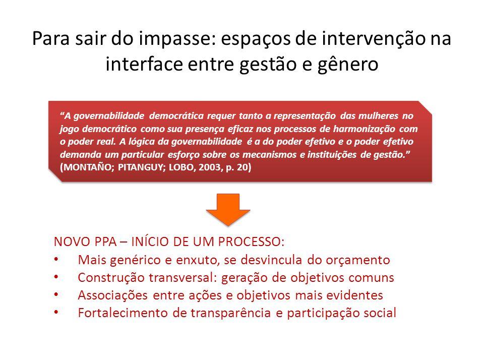 Para sair do impasse: espaços de intervenção na interface entre gestão e gênero A governabilidade democrática requer tanto a representação das mulhere
