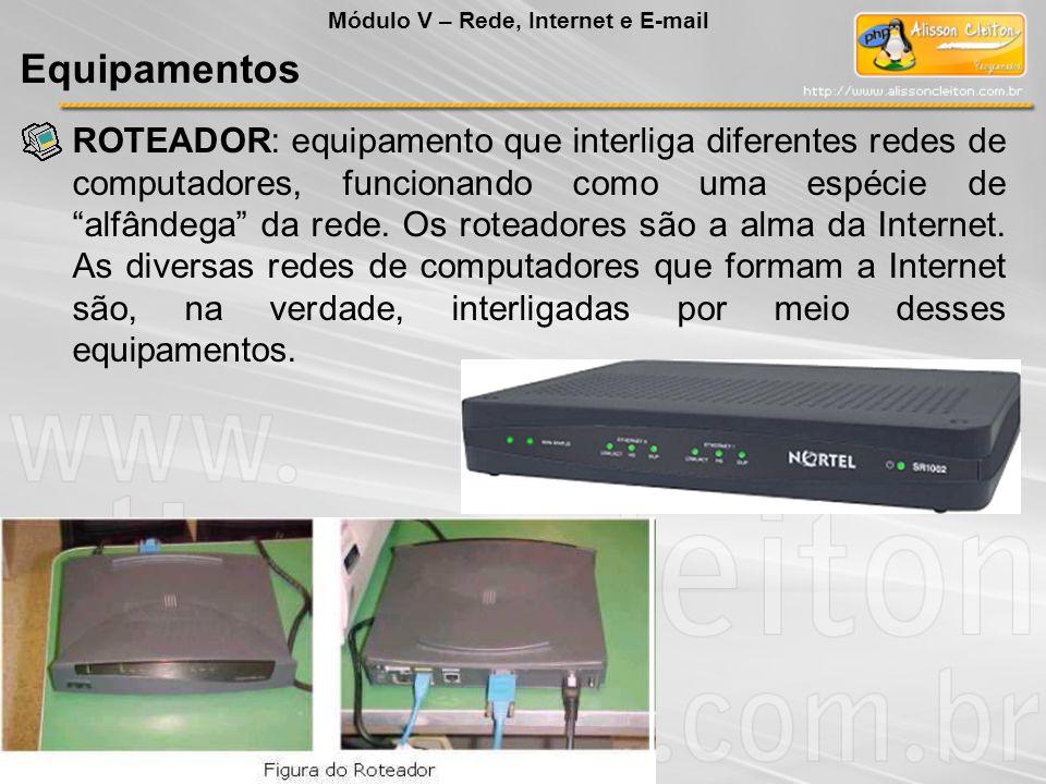 ROTEADOR: equipamento que interliga diferentes redes de computadores, funcionando como uma espécie de alfândega da rede.