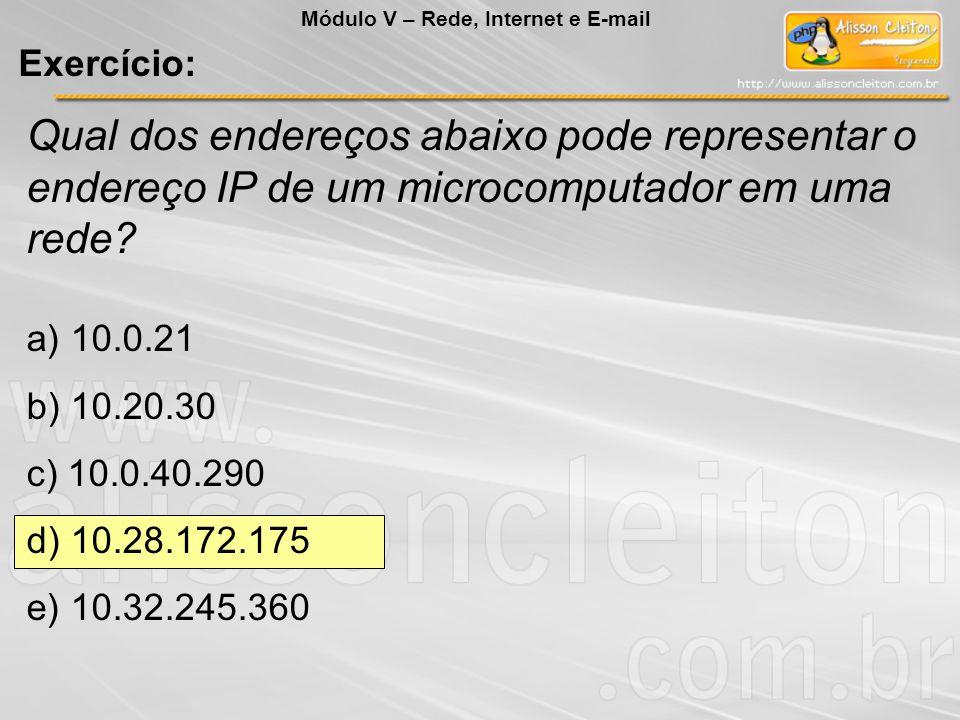 Qual dos endereços abaixo pode representar o endereço IP de um microcomputador em uma rede? a) 10.0.21 b) 10.20.30 c) 10.0.40.290 d) 10.28.172.175 e)