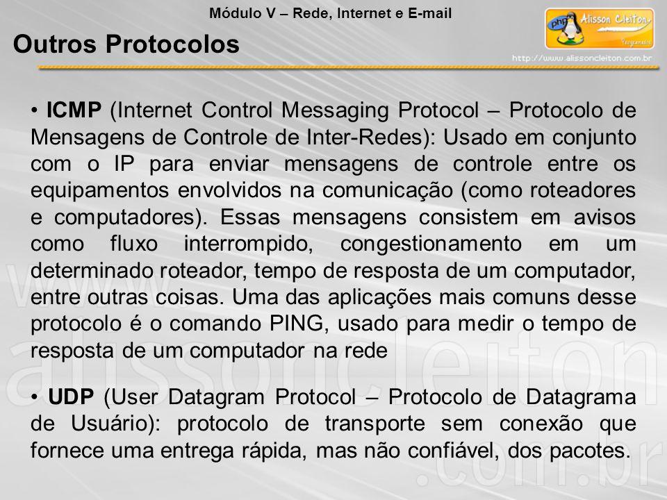 ICMP (Internet Control Messaging Protocol – Protocolo de Mensagens de Controle de Inter-Redes): Usado em conjunto com o IP para enviar mensagens de controle entre os equipamentos envolvidos na comunicação (como roteadores e computadores).
