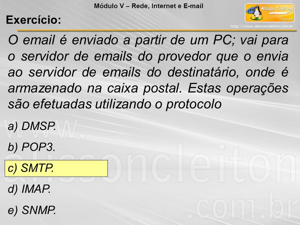 O email é enviado a partir de um PC; vai para o servidor de emails do provedor que o envia ao servidor de emails do destinatário, onde é armazenado na caixa postal.
