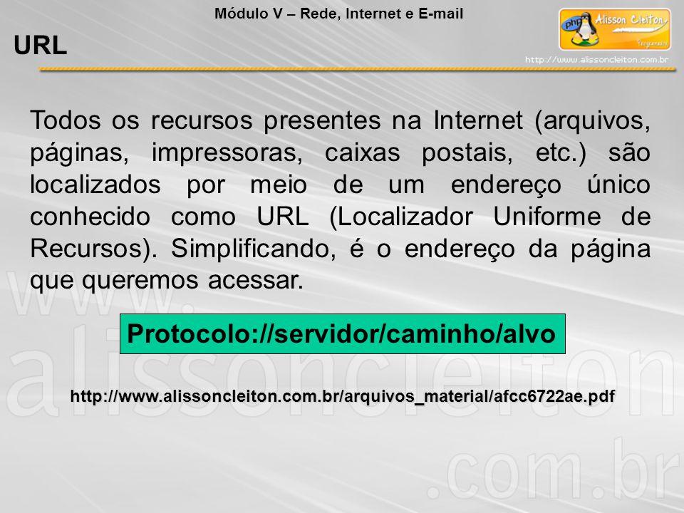 Todos os recursos presentes na Internet (arquivos, páginas, impressoras, caixas postais, etc.) são localizados por meio de um endereço único conhecido como URL (Localizador Uniforme de Recursos).