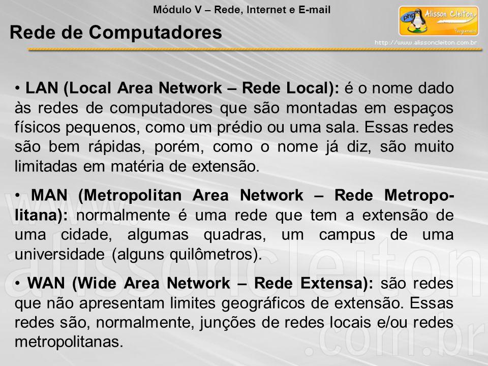 LAN (Local Area Network – Rede Local): é o nome dado às redes de computadores que são montadas em espaços físicos pequenos, como um prédio ou uma sala