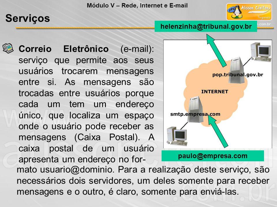 paulo@empresa.com helenzinha@tribunal.gov.br Correio Eletrônico (e-mail): serviço que permite aos seus usuários trocarem mensagens entre si. As mensag