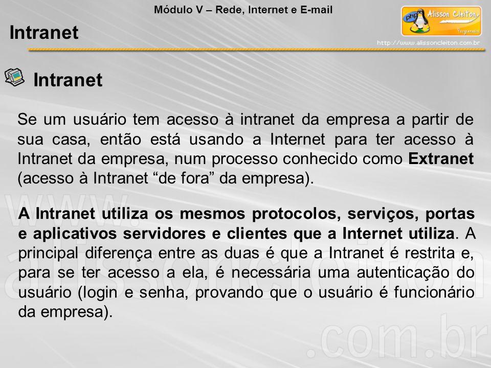 Se um usuário tem acesso à intranet da empresa a partir de sua casa, então está usando a Internet para ter acesso à Intranet da empresa, num processo conhecido como Extranet (acesso à Intranet de fora da empresa).