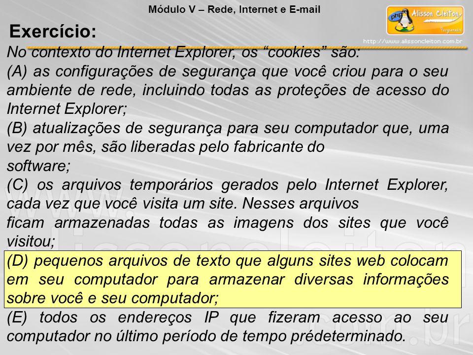 No contexto do Internet Explorer, os cookies são: (A) as configurações de segurança que você criou para o seu ambiente de rede, incluindo todas as proteções de acesso do Internet Explorer; (B) atualizações de segurança para seu computador que, uma vez por mês, são liberadas pelo fabricante do software; (C) os arquivos temporários gerados pelo Internet Explorer, cada vez que você visita um site.