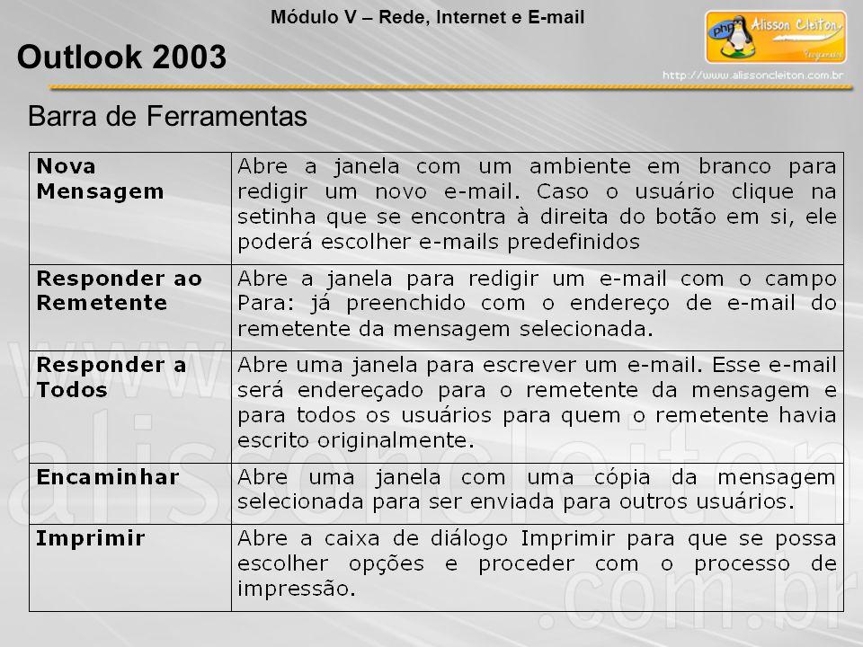 Barra de Ferramentas Módulo V – Rede, Internet e E-mail Outlook 2003