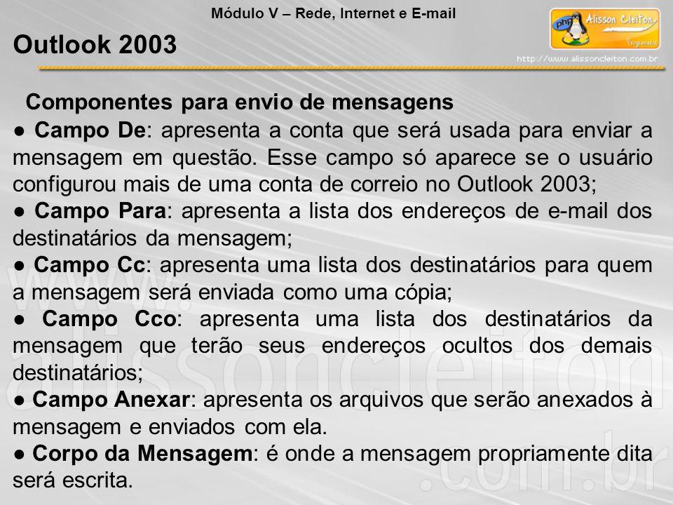 Componentes para envio de mensagens Campo De: apresenta a conta que será usada para enviar a mensagem em questão.