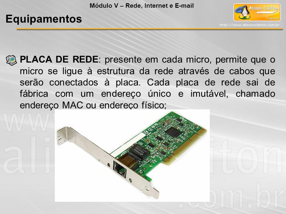 O dispositivo utilizado para fazer a ligação de um PC com uma rede local denomina-se: a) Roteador b) Modem c) Porta paralela (LPT1) d) Placa de Rede e) USB Módulo V – Rede, Internet e E-mail Exercício: