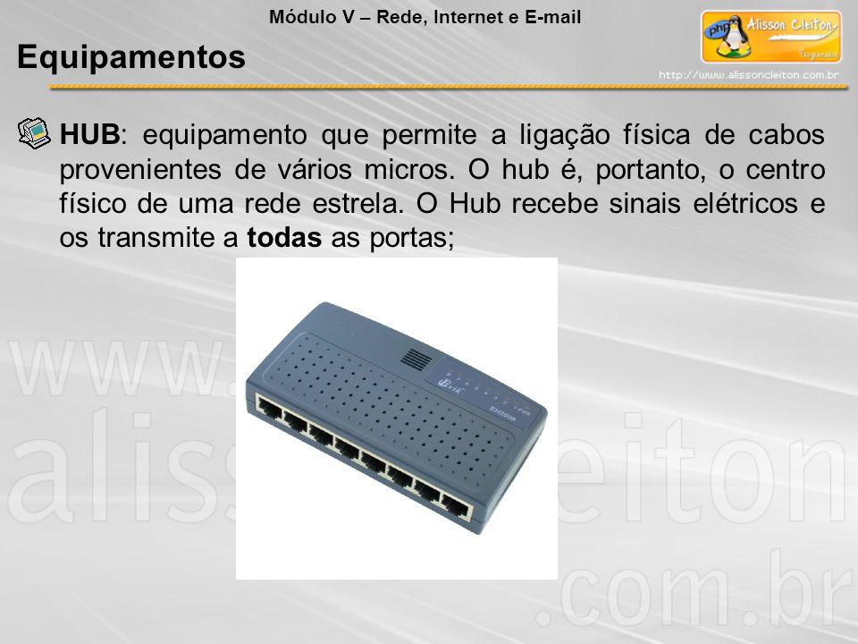 HUB: equipamento que permite a ligação física de cabos provenientes de vários micros. O hub é, portanto, o centro físico de uma rede estrela. O Hub re