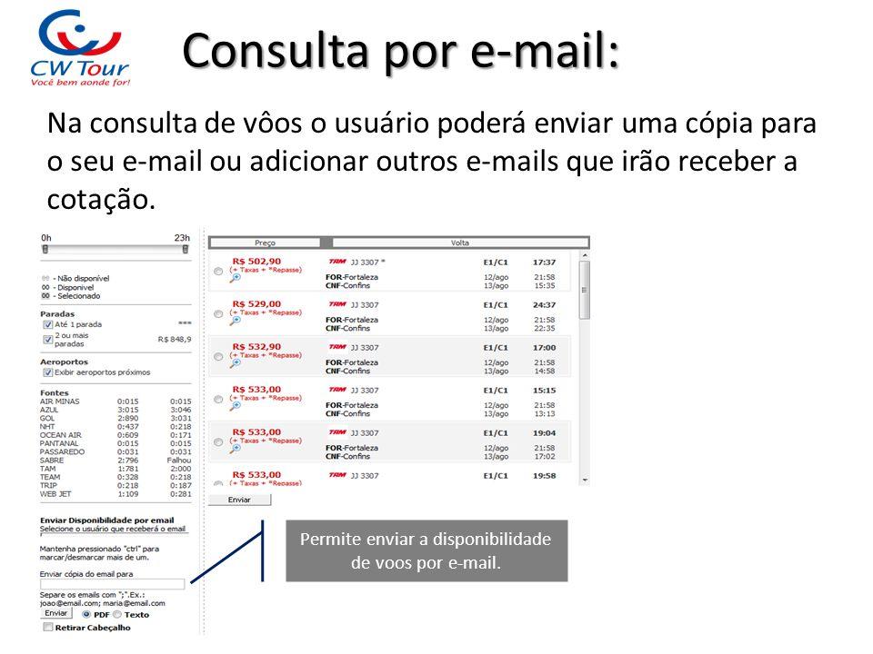 Consulta por e-mail: Na consulta de vôos o usuário poderá enviar uma cópia para o seu e-mail ou adicionar outros e-mails que irão receber a cotação. P