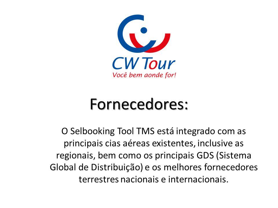 Fornecedores: O Selbooking Tool TMS está integrado com as principais cias aéreas existentes, inclusive as regionais, bem como os principais GDS (Siste