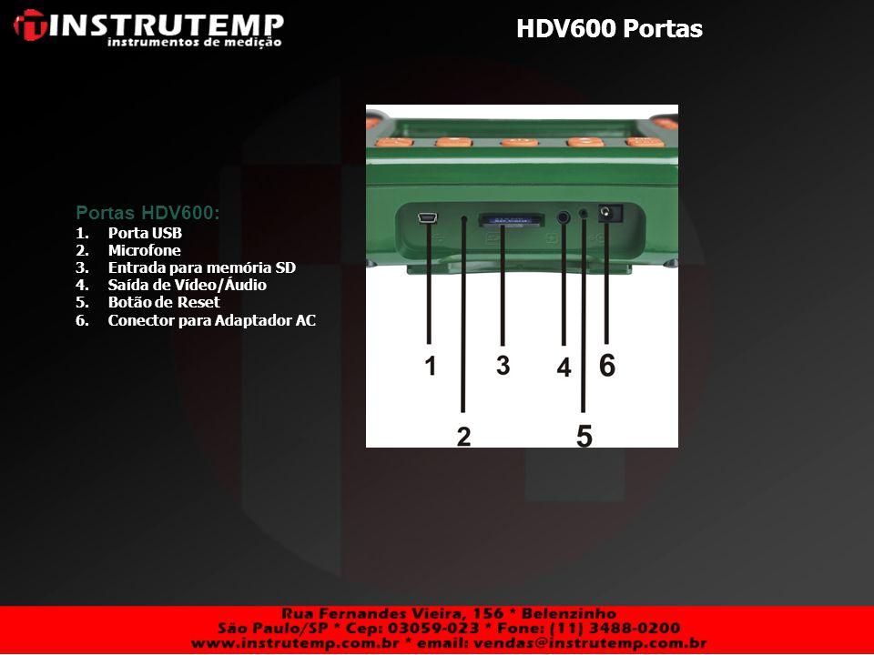 HDV600 Portas Portas HDV600: 1.Porta USB 2.Microfone 3.Entrada para memória SD 4.Saída de Vídeo/Áudio 5.Botão de Reset 6.Conector para Adaptador AC