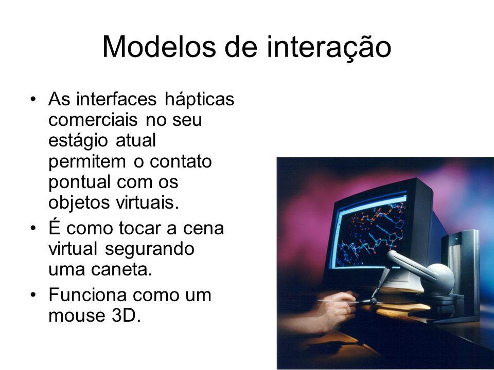 Modelos de interação O modelo mais usado para simulação do contato háptico é o proxy.