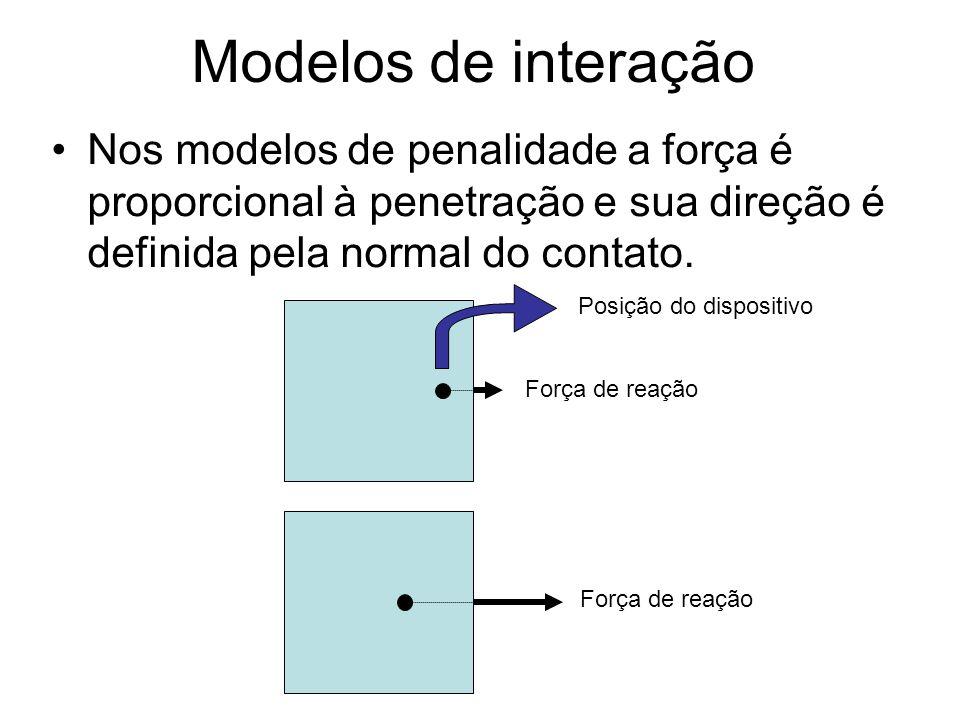 Modelos de interação Entretanto o método de penalidade não funciona bem em algumas situações particulares, como em objetos finos e nos cantos onde a penetração não é bem definida.