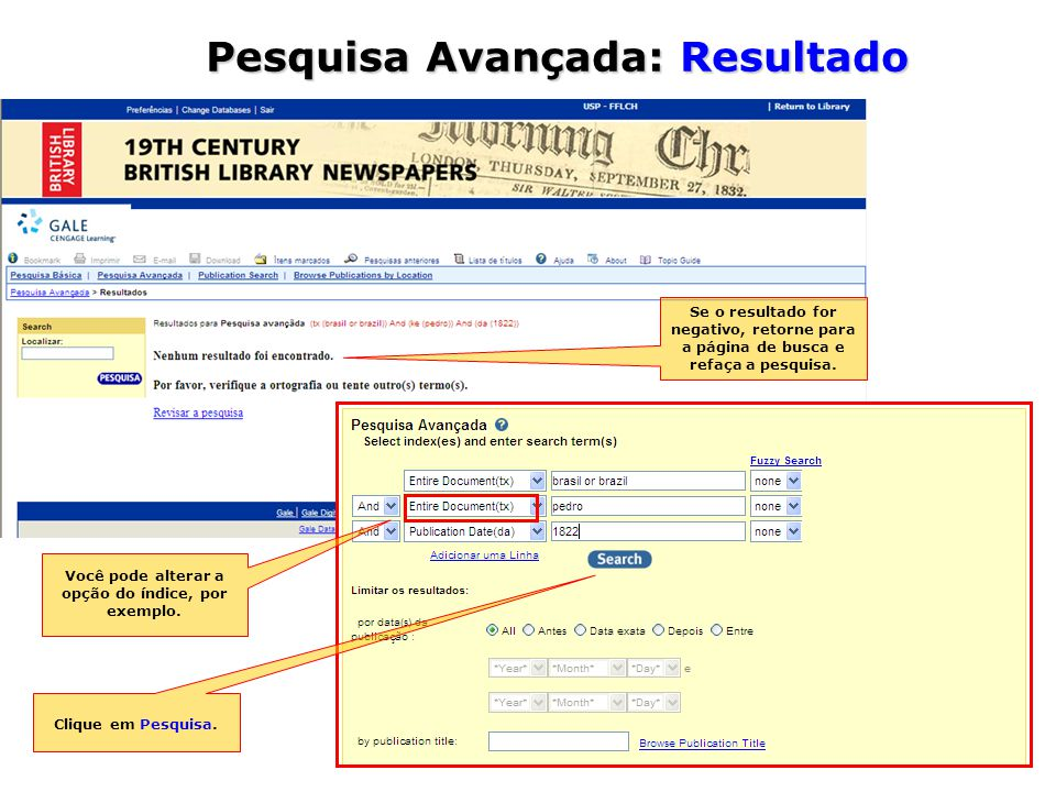 Se o resultado for negativo, retorne para a página de busca e refaça a pesquisa.