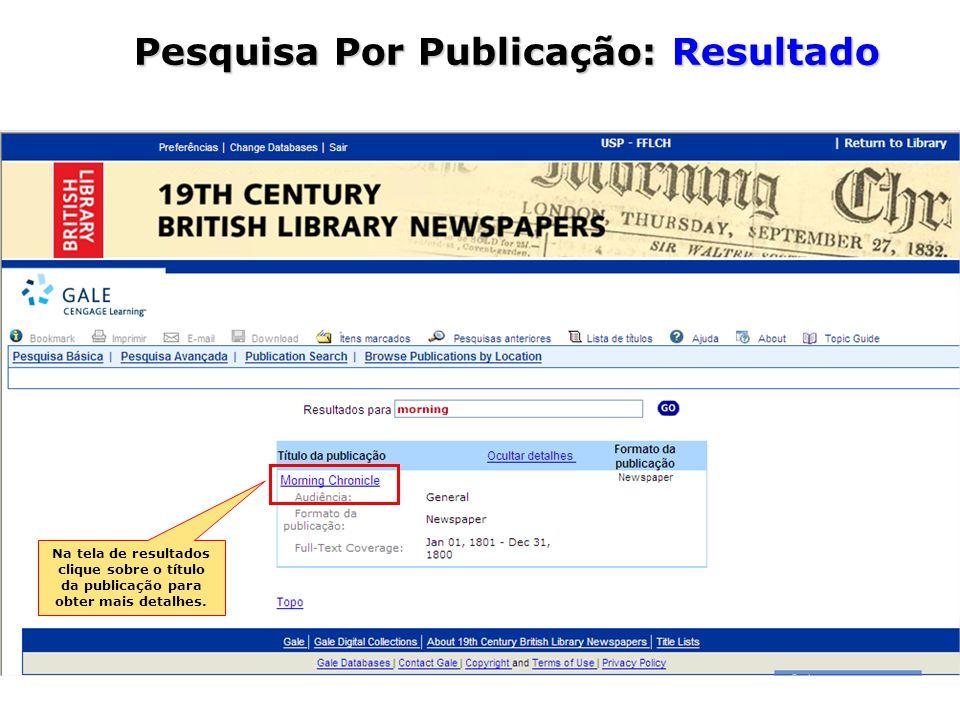 Na tela de resultados clique sobre o título da publicação para obter mais detalhes.
