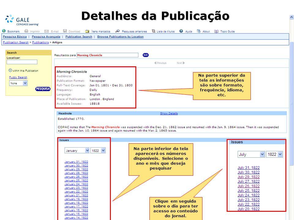 Na parte superior da tela as informações são sobre formato, frequência, idioma, etc.